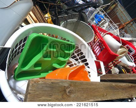 Plastic waste pollution  accumulated in a dump environmental concern