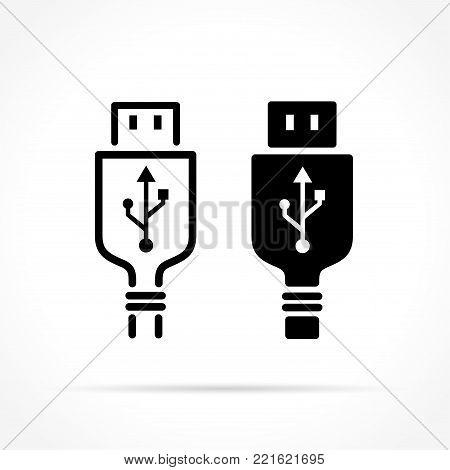 Illustration of usb plug icons on white background