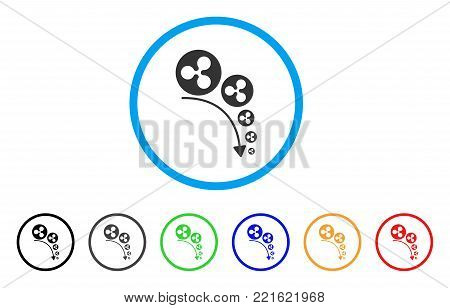 Ripple Deflation Trend rounded icon. Style is a flat grey symbol inside light blue circle with additional colored versions. Ripple Deflation Trend vector designed for web and software interfaces.