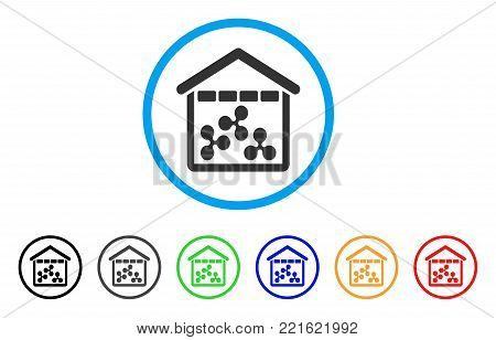 Ripple Depository rounded icon. Style is a flat gray symbol inside light blue circle with additional color versions. Ripple Depository vector designed for web and software interfaces.