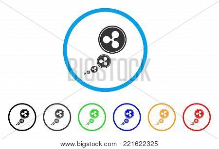 Ripple Inflation rounded icon. Style is a flat gray symbol inside light blue circle with additional colored versions. Ripple Inflation vector designed for web and software interfaces.