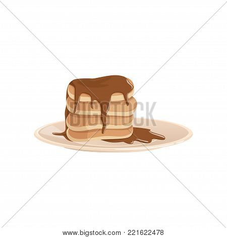 Plate with stack of lush fritters or pancakes covered with chocolate. Delicious breakfast concept. Design for menu, flyer or poster. Colorful flat vector illustration in flat style isolated on white.