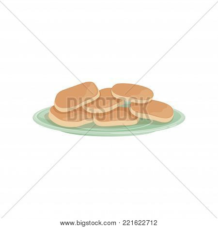 Plate of traditional Russian fresh curd fritters. Dessert and tasty breakfast concept. Cartoon vector illustration isolated on white background. Flat design for poster, flyer or menu of restaurant.