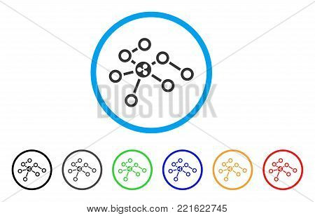 Ripple Network Nodes rounded icon. Style is a flat grey symbol inside light blue circle with bonus color versions. Ripple Network Nodes vector designed for web and software interfaces.
