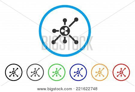 Ripple Node rounded icon. Style is a flat grey symbol inside light blue circle with additional colored versions. Ripple Node vector designed for web and software interfaces.
