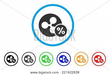 Ripple Percent rounded icon. Style is a flat gray symbol inside light blue circle with additional color versions. Ripple Percent vector designed for web and software interfaces.