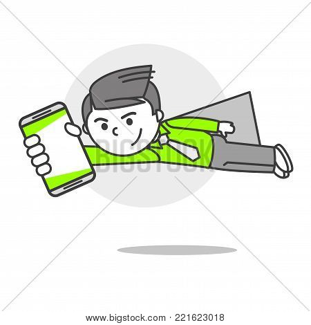 Vector person with phone emotions and mood confidence, flight, superman