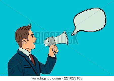 Businessman talking in loudspeaker. speach bubble. cartoon character