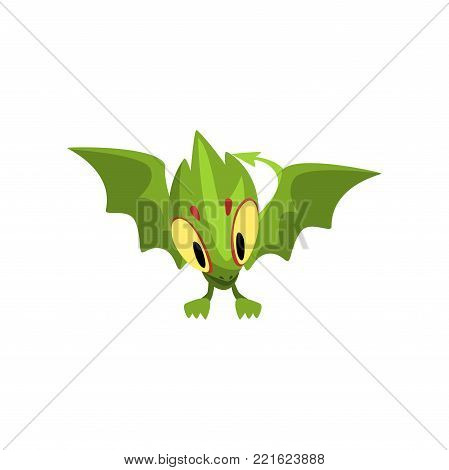 Cartoon character of green baby dragon with big yellow eyes. Mythical fantastic animal with large wings, and long tail. Flat vector design isolated on white. Graphic element for poster or mobile game.
