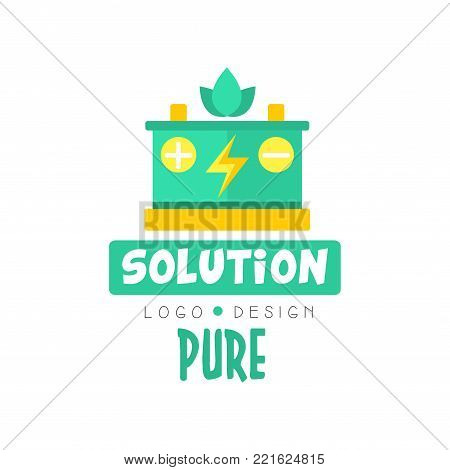 Illustration of car battery and symbol of lightning, pure solution logo original design template. Green and yellow alternative energy, electricity production industry. Flat vector isolated on white.
