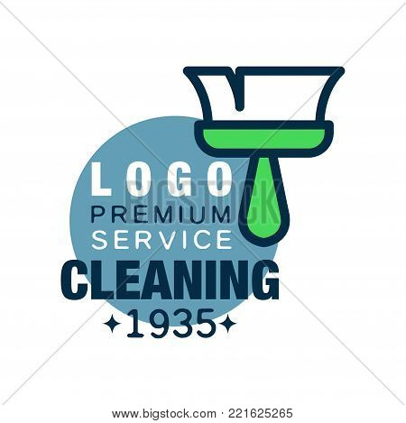House cleaning and maid service logo design with brush and blue circle. Original icon in outline style. Design for business card, flyer or banner. Flat vector illustration isolated on white background