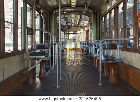 TURIN, ITALY - CIRCA JANUARY 2018: Vintage tramway train for public transport