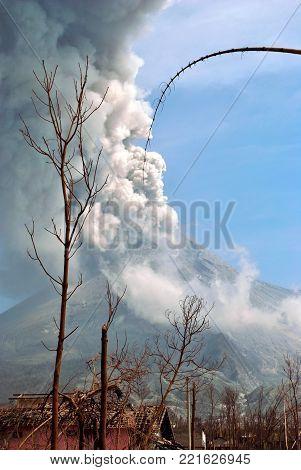Eruption of Merapi Mountain from Yogyakarta, Java Island, Indonesia