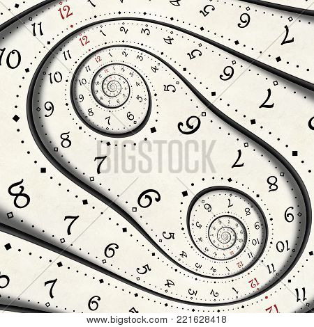 Abstract Modern white surreal spiral clock fractal Twisted watch unusual abstract texture background. High resolution clock pattern fashionable clock Time spiral effect fractal repetitive clock spiral. Original unique surreal spiral clock background