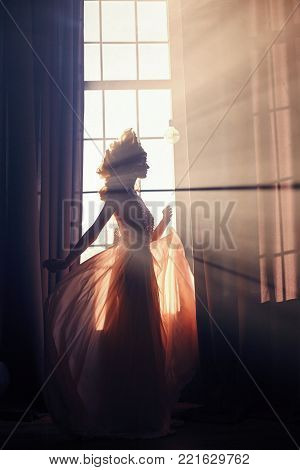 Silhouette Of A Mysterious Fairy Woman On The Background Of The Window In The Sunlight. Girl In The