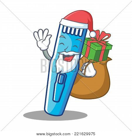Santa with gift trimmer mascot cartoon style vector illustration
