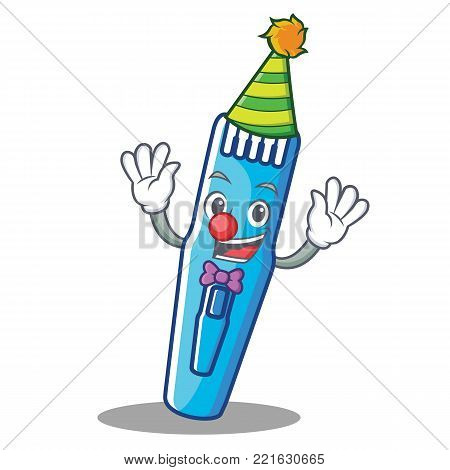 Clown trimmer mascot cartoon style vector illustration
