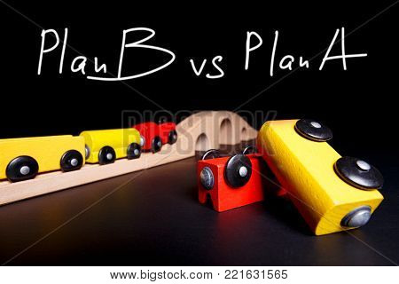 Plan B is one effective step Toy train rides on rails symbolizing an effective plan B. An inverted wagon is a concept when plan A has suffered a catastrophe and it is necessary to have a direction of development in one step.