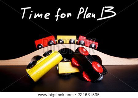 Time for plan B when something went wrong. The picture illustrates the unexpected development of events in business and life. Planning alternatives helps reduce risks in the event of an error.
