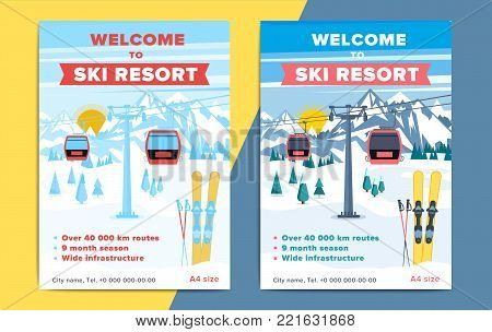Colorful Mountain Ski Resort Background Illustration. Bright Layout With Lift Or Gondola On Winter A