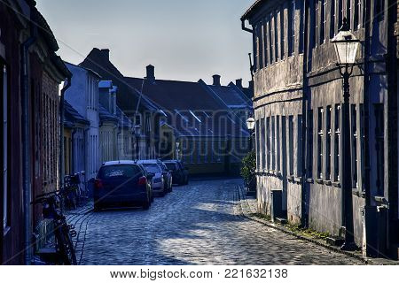Old houses from royal town Ribe in Denmark a cold and clear January day.  Denmark's oldest city.