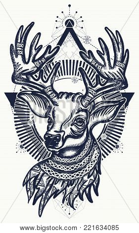 Christmas reindeer. Symbol of winter, new year, Christmas. Beautiful reindeer portrait tattoo art. Deer tattoo and t-shirt design
