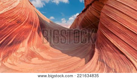 The Wave, canyon rock formation, Vermillion Cliffs, Arizona.