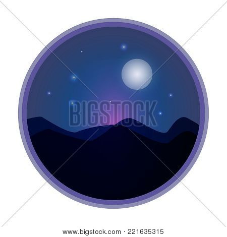 Mystical Night sky background with full moon and stars. Moonlight night. Vector illustration.