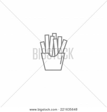 French fries potato line icon. American and international fast food symbol. Vector illustration isolated on white background.