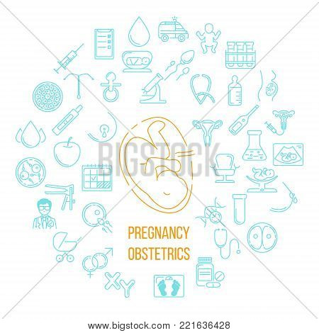 Banner template with research symbols including ultrasound, In vitro fertilization, gynecological chair, pregnancy test, pregnant  woman. Line style vector illustration with place for your text.