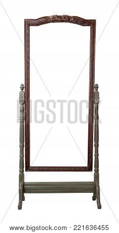 Vintage Furniture - Retro wooden ornate rectangular cheval standing dressing mirror painted in dark green and brown colors isolated on white background including clipping path