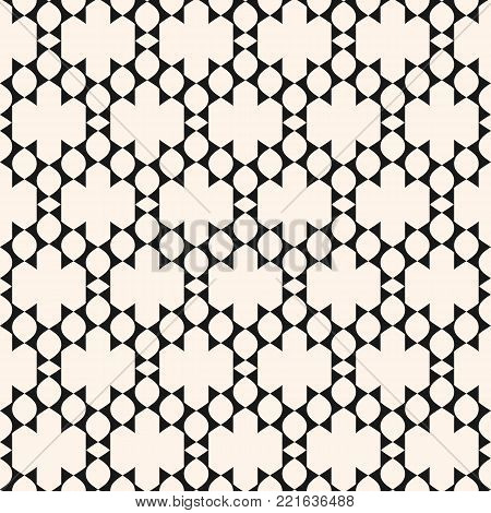 Vector ornamental seamless pattern in ethnic style. Black and white tribal ornament with simple geometric shapes, grid, lattice. Abstract background in traditional folk style. Ornament grid texture. Repeat design for decoration, fabric, prints