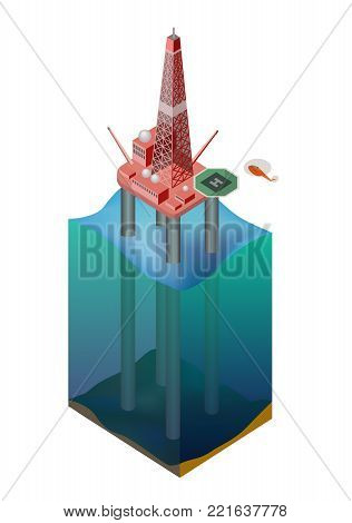 Drilling rig for oil production in the ocean. Isometry. Vector illustration.
