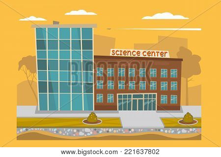 Science Center. Image in the cartoon style. Vector illustration.