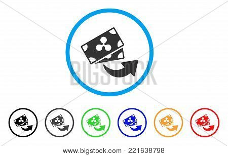 Send Ripple Banknotes rounded icon. Style is a flat grey symbol inside light blue circle with additional color versions. Send Ripple Banknotes vector designed for web and software interfaces.
