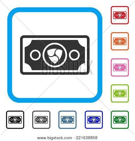 Nem Banknote icon. Flat grey pictogram symbol in a blue rounded squared frame. Black, gray, green, blue, red, orange color variants of nem banknote vector. Designed for web and app user interface.