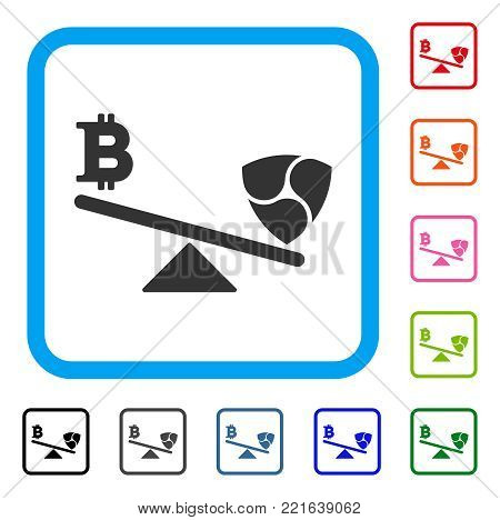 Bitcoin Nem Balance Swings icon. Flat grey pictogram symbol in a blue rounded squared frame. Black, gray, green, blue, red, pink color variants of bitcoin nem balance swings vector.