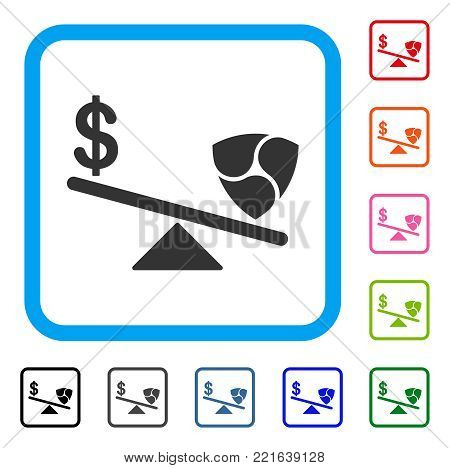 Dollar Nem Balance Swings icon. Flat grey pictogram symbol in a blue rounded square. Black, grey, green, blue, red, pink color versions of dollar nem balance swings vector.
