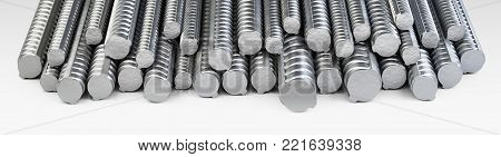 Reinforcements steel bars long stack. Building armature. 3d illustration isolated on white background. poster