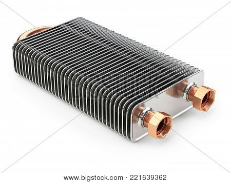 Aluminium long heat exchanger with tubes for connection of Industrial cooling unit equipment. 3d illustration isolated on a white bacground.