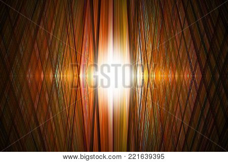 An orange grid background with bright spotlight