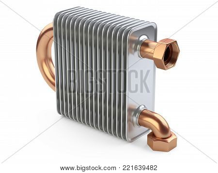 Heat exchanger with tubes for connection of Industrial cooling unit equipment. 3d illustration isolated on a white bacground.