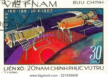 Ukraine - circa 2018: A postage stamp printed in Vietnam shows Satellites Kosmos-186 and Kosmos-188 Docking. Series: 20 Years of Space Exploration. Circa 1978.
