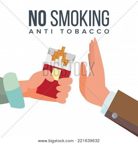 No Smoking Concept Vector. Anti Tobacco. Hand Offers To Smoke Holding A Pack Of Cigarettes. Gesture Rejection. Proposal Smoke. Isolated Illustration