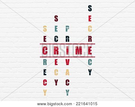 Protection concept: Painted red word Crime in solving Crossword Puzzle