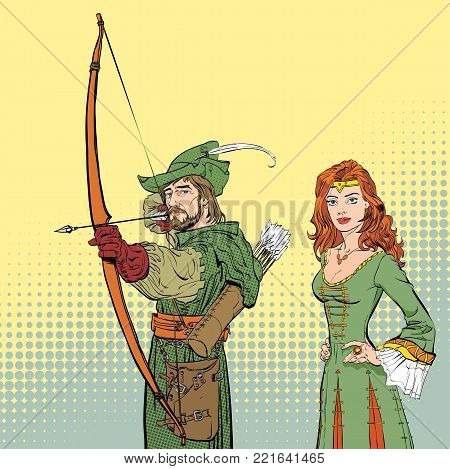 Robin Hood aiming on target. Young soldier. Defender of weak. Medieval legends. Lady in medieval dress. Beloved woman of Robin Hood. White lady of forrests.