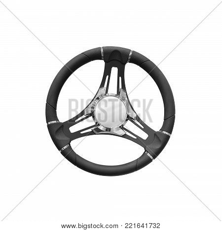 Luxury modern steering wheel for yacht boats or car symbol control, control concept, isolated on white background
