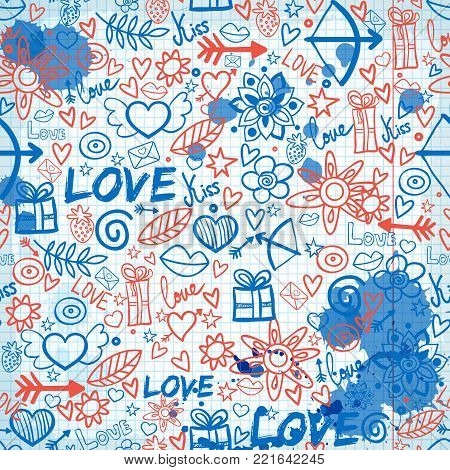 Valentines day seamless pattern with hand drawn romantic elements ink stains on paper note vector illustration