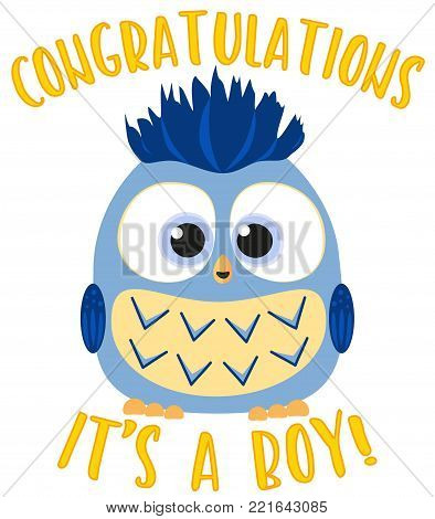 Congratulations it s a boy colorful poster. Cute baby boy owl. Birthday themed flat vector illustration for gift card, flyer, certificate or banner