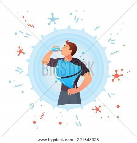 Man drinks water.Concept of drinking water, healthy.  Vector flat style cartoon illustration isolated on white background
